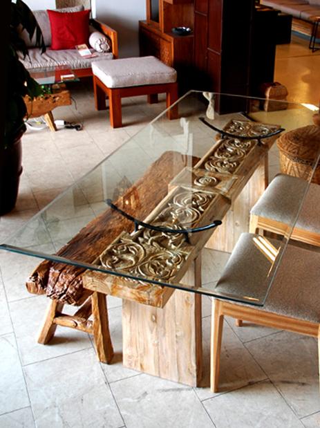 アジアン家具KAJA「古木ガラスダイニングテーブル」