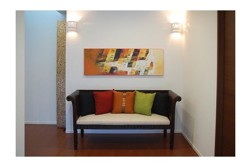 アジアンコーディネート事例 様々な素材と統一感のあるカラーで作るリビングコーディネート