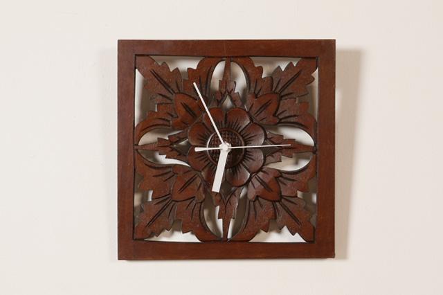 アジアン家具KAJAウッドレリーフ時計