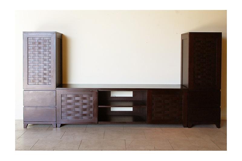 アジアンオーダー家具事例 オーダー家具で作るTVボードとキャビネットのセット