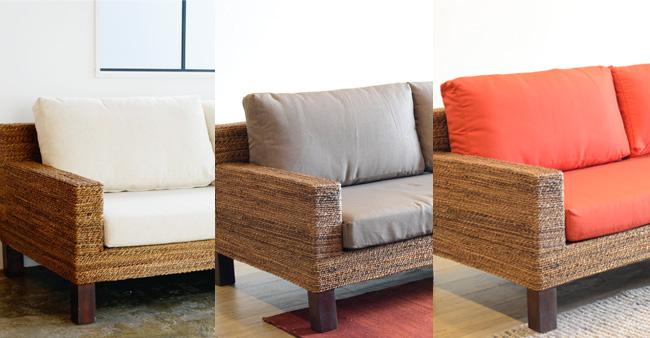 アジアン家具KAJAバナナリーフのオミソファ替えカバー