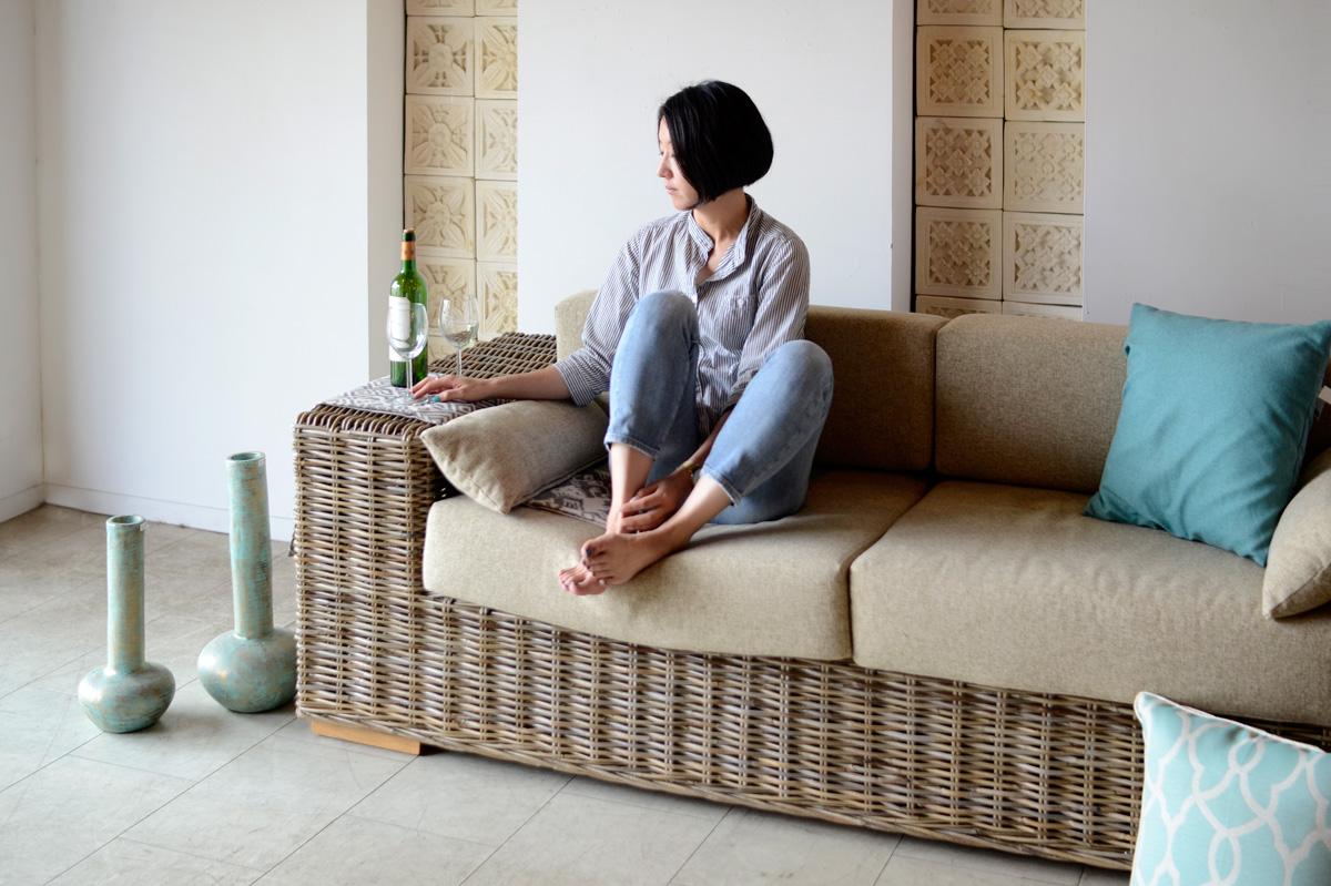 アジアン家具KAJAラタンのリゾートソファCEERS/ベアソファ