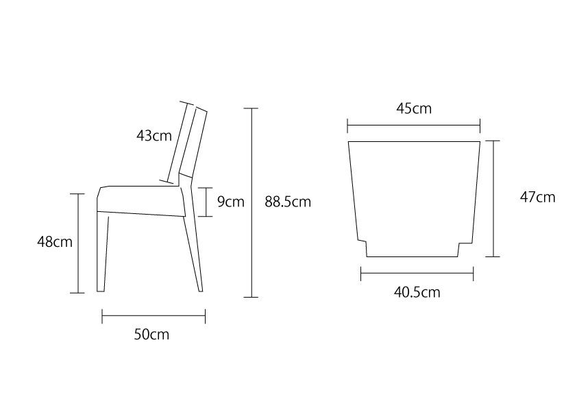 アジアン家具KAJAカプチーノチェアの詳細サイズ