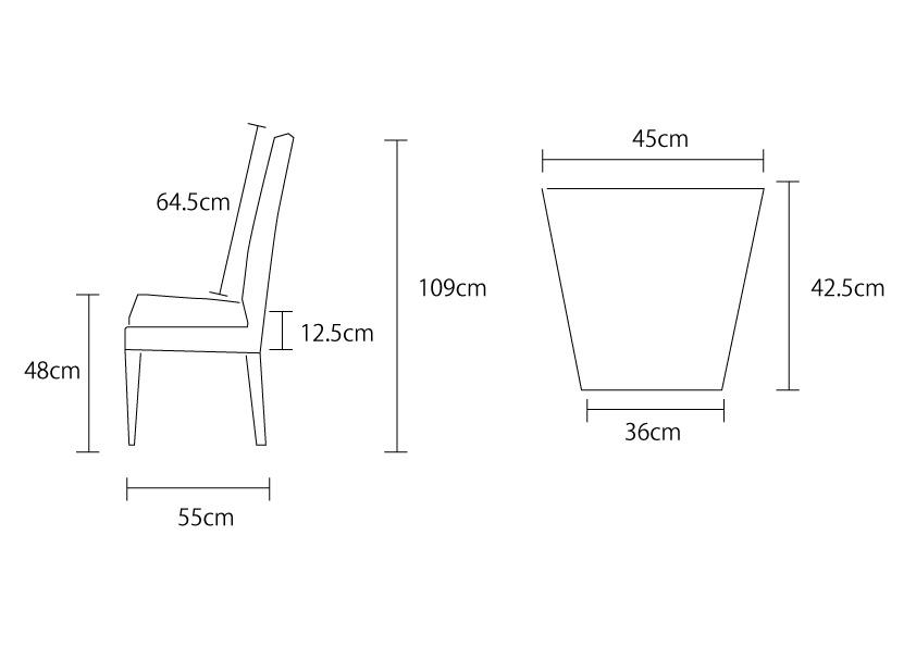 アジアン家具KAJAハイピールチェアの詳細サイズ
