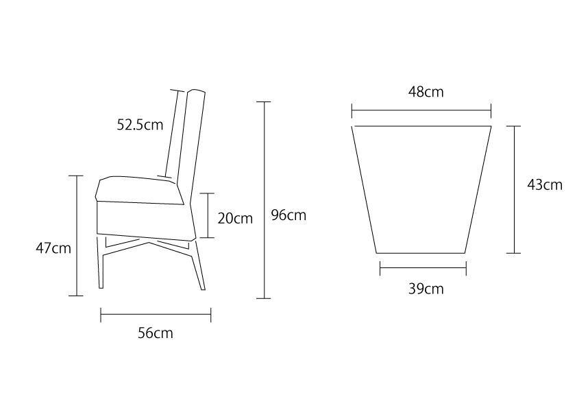 アジアン家具KAJAコアチェアの詳細サイズ