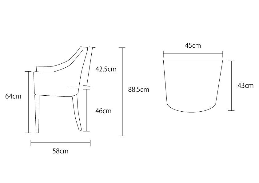 アジアン家具KAJAオリビアチェアの詳細サイズ