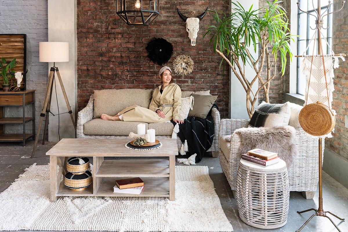 アジアン家具新しいソファのコーディネート