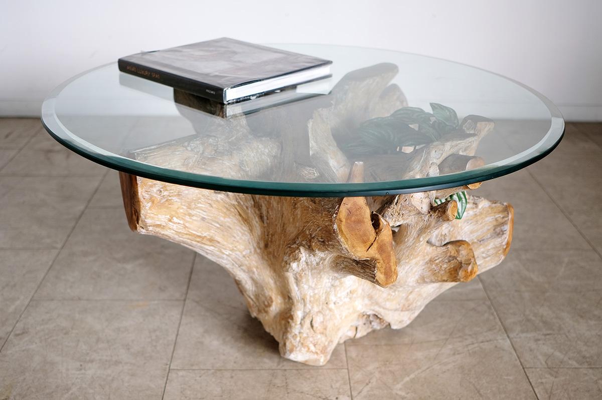 アジアン家具KAJAホワイトウォッシュのルーツテーブル