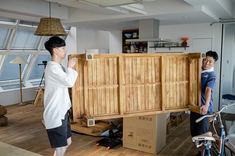 アジアン家具KAJA商品撮影の搬入
