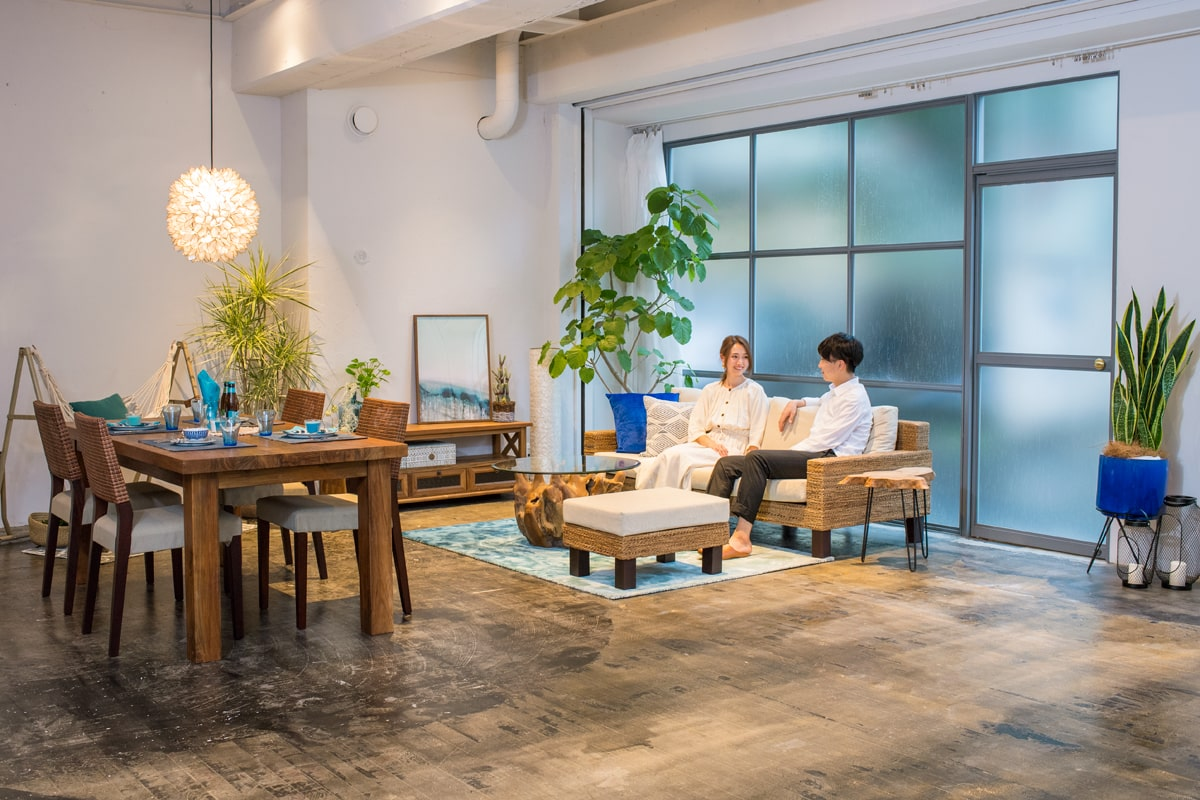 アジアン家具KAJA緑の入ったコーディネート