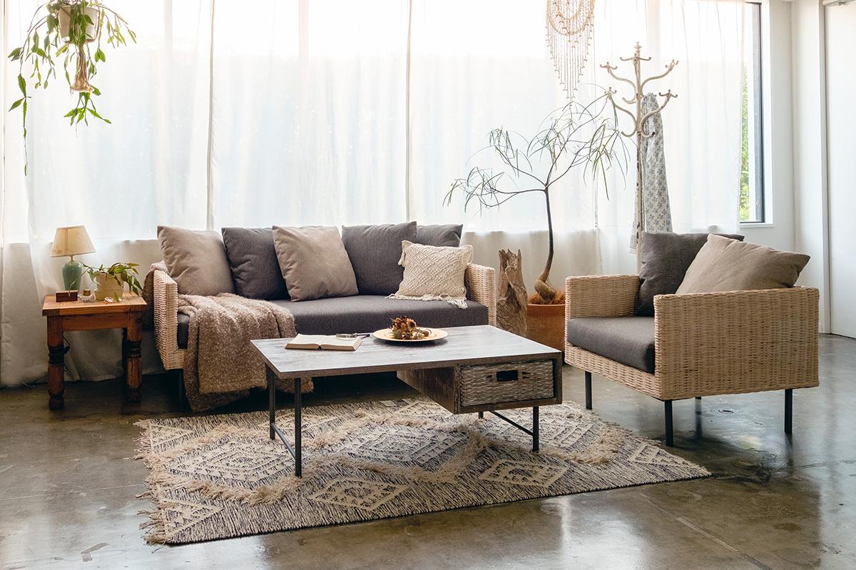 アジアン家具KAJAラインソファのコーディネート例