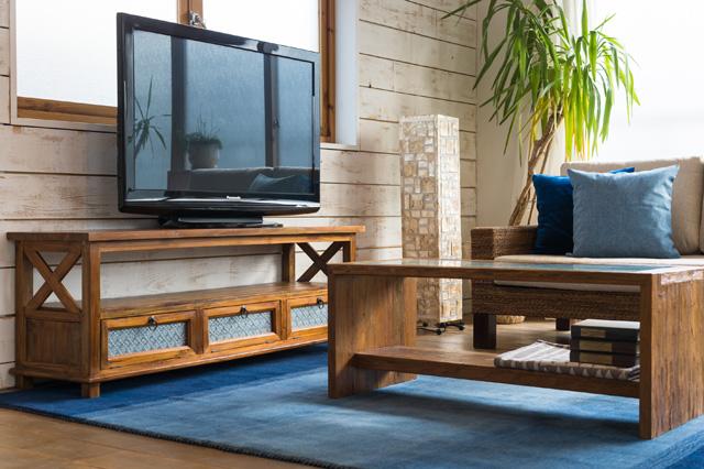 アジアン家具KAJAチークサイドクロステレビボード