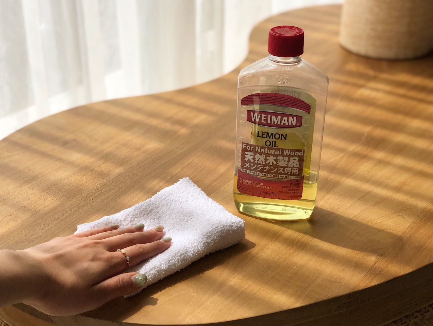 アジアン家具KAJAレモンオイルで家具をお手入れ