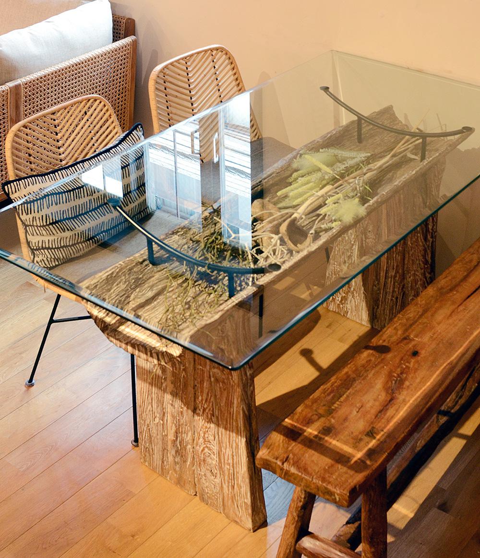 アジアン家具KAJA古木のダイニングテーブル(ホワイトウォッシュ)